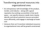 transforming personal resources into organizational ones1