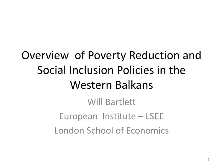 overview of poverty reduction and social inclusion policies in the western balkans n.