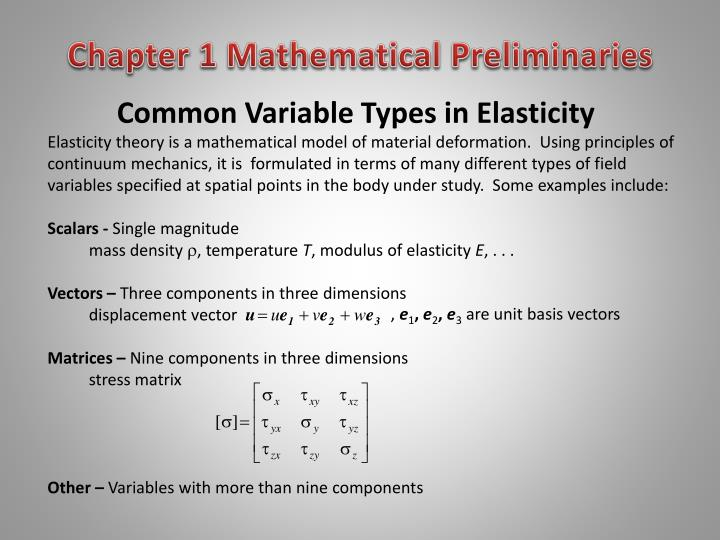 common variable types in elasticity n.