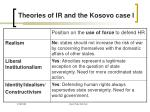theories of ir and the kosovo case i