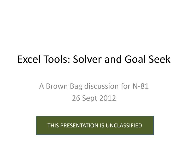 excel tools solver and goal seek n.