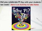 did you celebrate pi day with your students last week here is an activity to take home