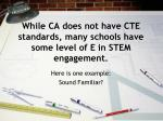 while ca does not have cte standards many schools have some level of e in stem engagement