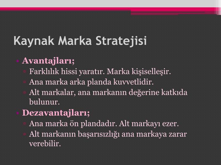 Kaynak Marka Stratejisi