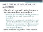 marx the value of labour and alienation