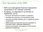 the operation of the imf