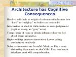architecture has cognitive consequences