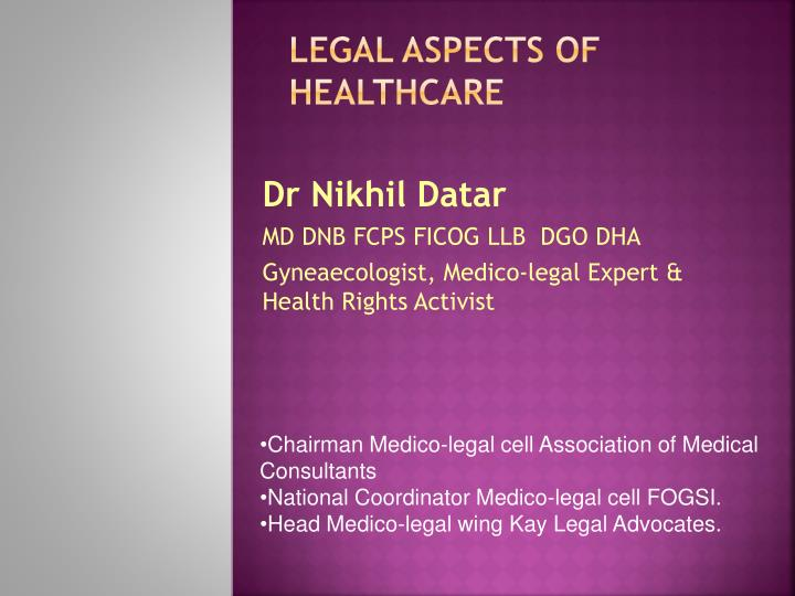 legal aspects of healthcare n.