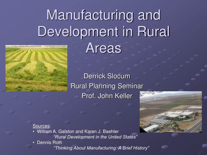 manufacturing and development in rural areas n.