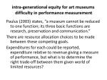 intra generational equity for art museums difficulty in performance measurement