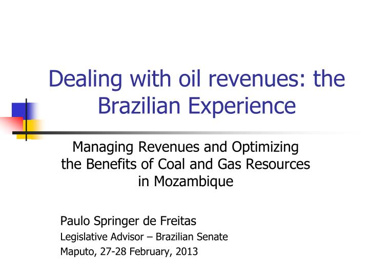 dealing with oil revenues the brazilian experience n.