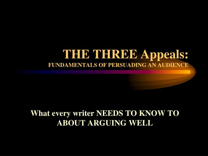 the three appeals fundamentals of persuading an audience n.