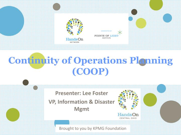 continuity of operations planning coop n.