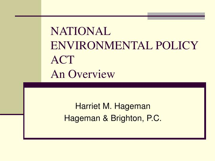 national environmental policy act an overview n.