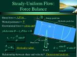 steady uniform flow force balance