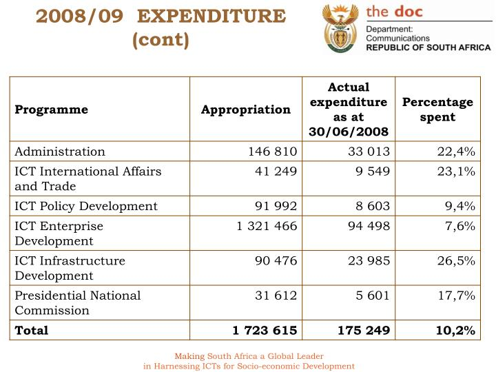 2008 09 expenditure cont