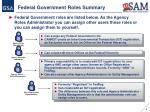federal government roles summary