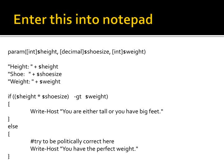 Enter this into notepad