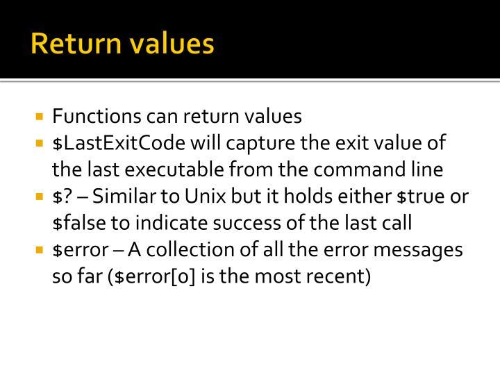 Return values