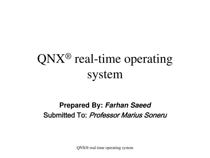qnx real time operating system n.