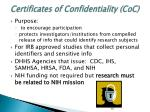 certificates of confidentiality coc