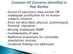 common hs concerns identified in peer review