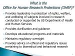 what is the office for human research protections ohrp