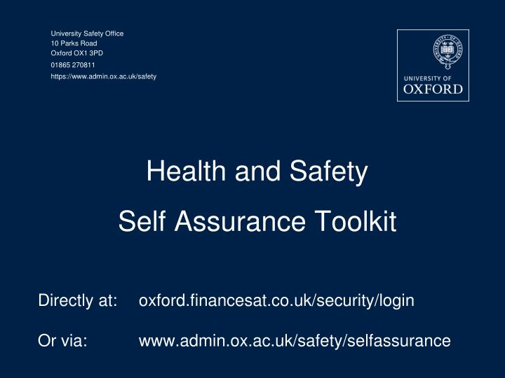 health and safety self assurance toolkit n.