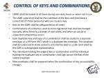 control of keys and combinations