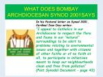 what does bombay archdiocesan synod 2001says