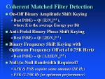 coherent matched filter detection