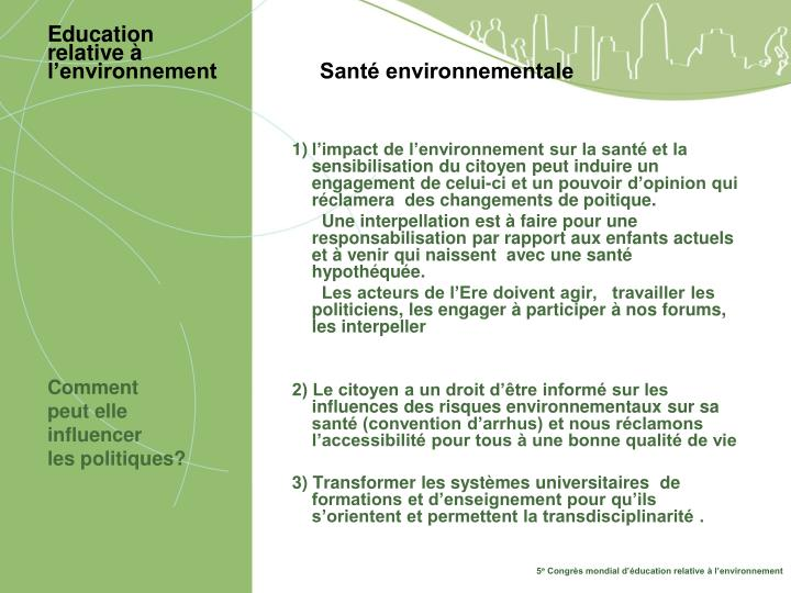 Education relative l environnement sant environnementale