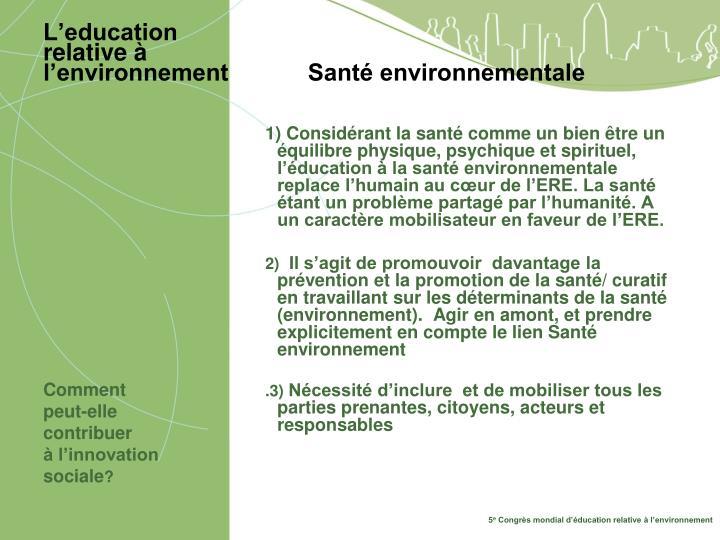 L education relative l environnement sant environnementale