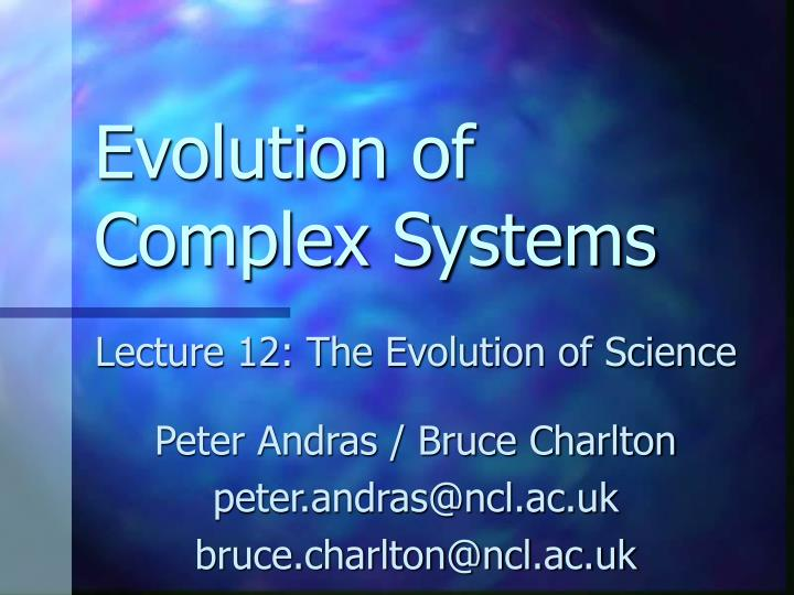 evolution of complex systems n.