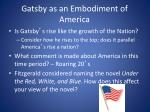 gatsby as an embodiment of america