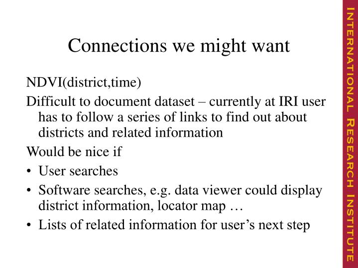 Connections we might want
