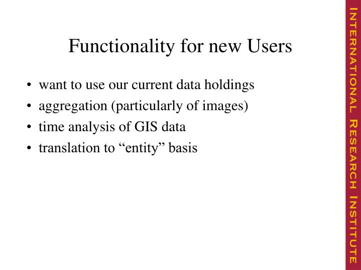 Functionality for new Users