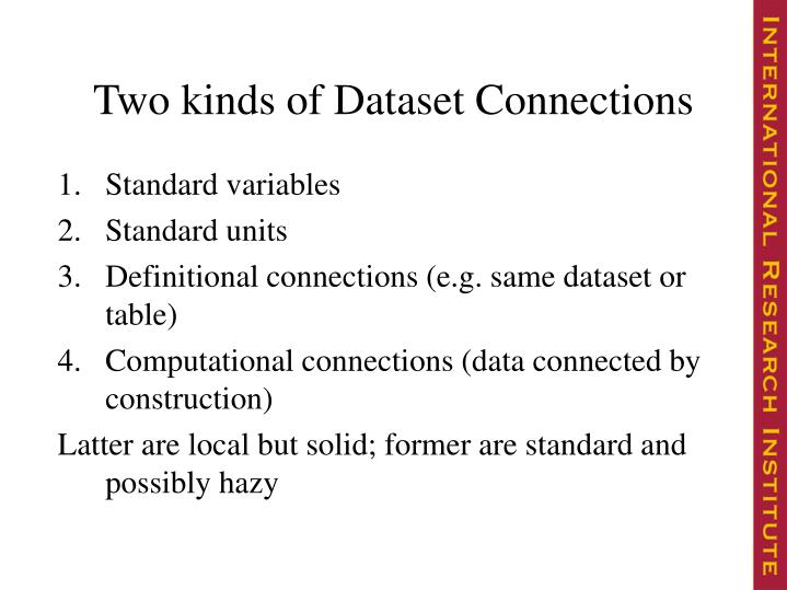 Two kinds of Dataset Connections