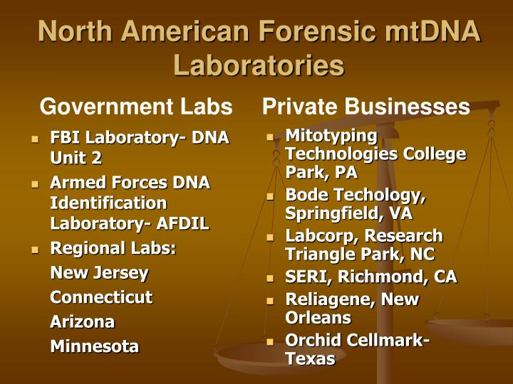 North american forensic mtdna laboratories