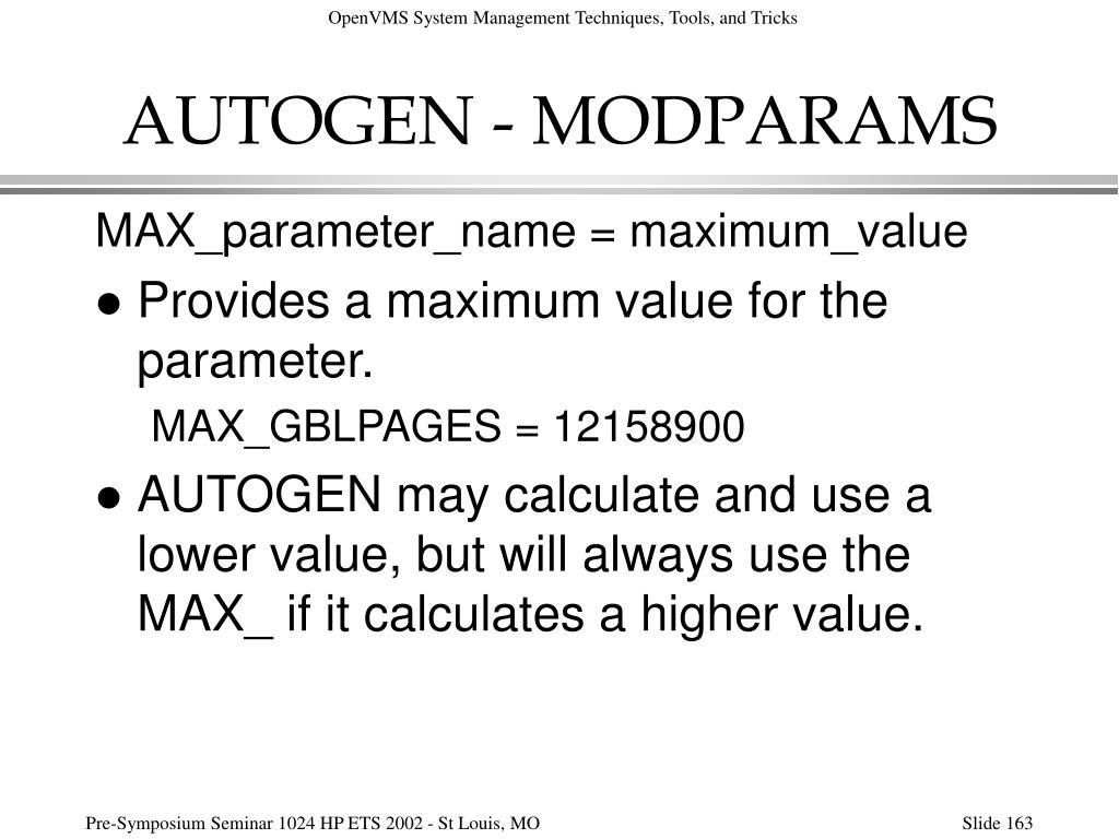 AUTOGEN - MODPARAMS