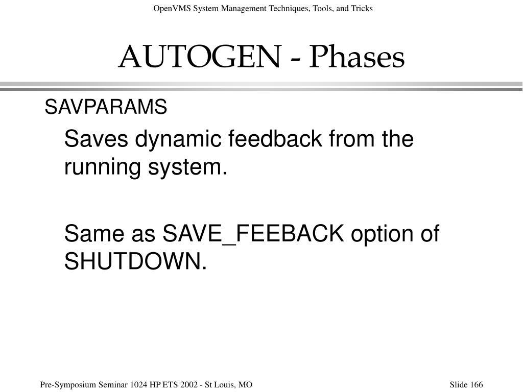 AUTOGEN - Phases