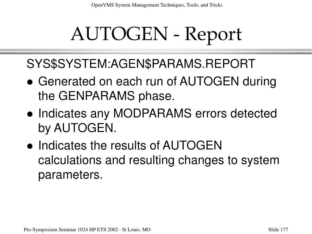 AUTOGEN - Report