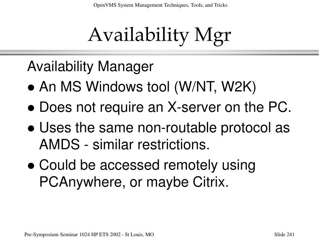 Availability Mgr