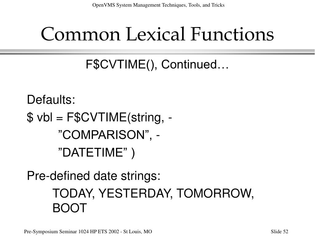 Common Lexical Functions