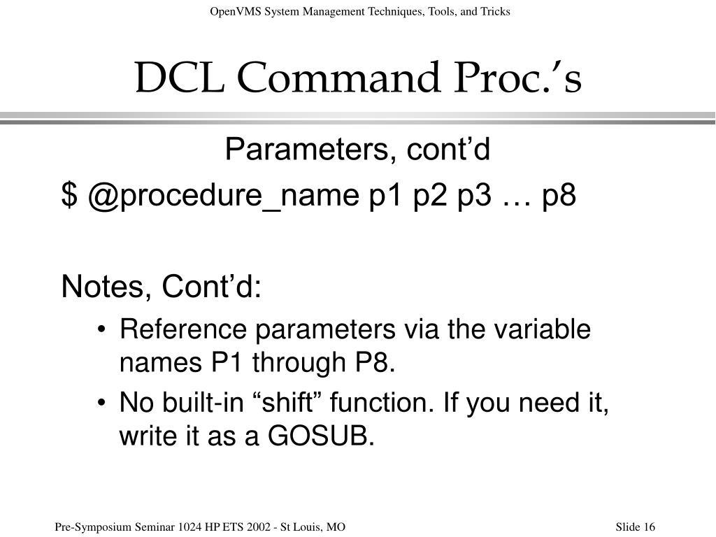DCL Command Proc.'s