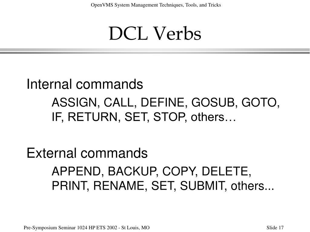 DCL Verbs
