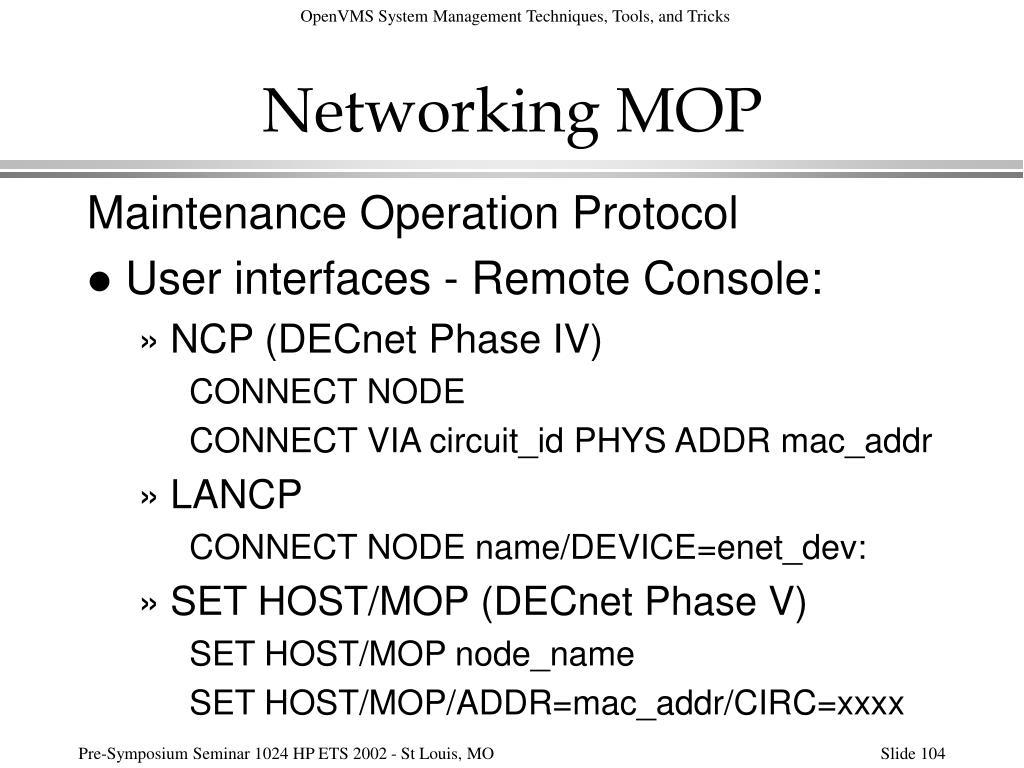 Networking MOP