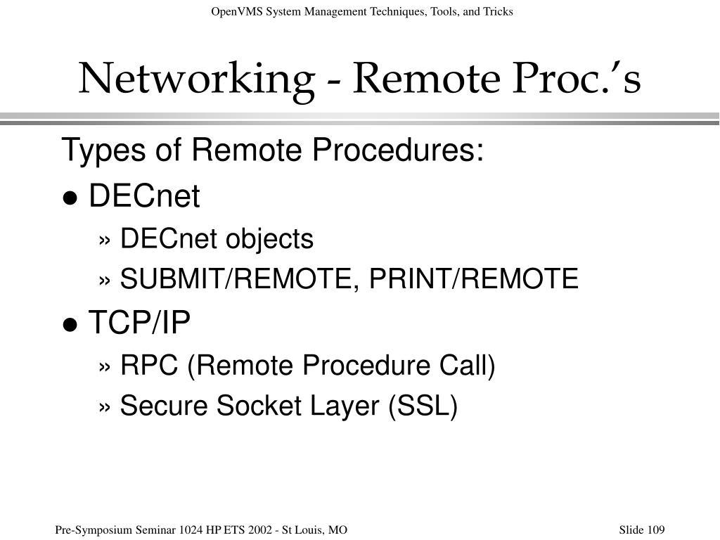 Networking - Remote Proc.'s