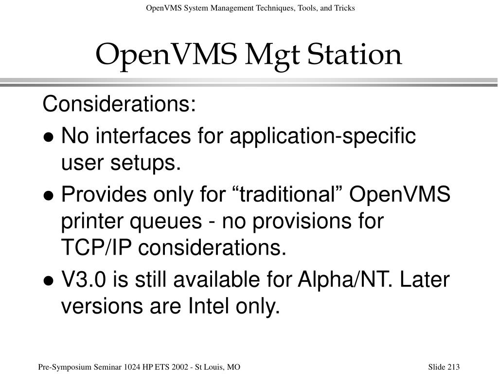 OpenVMS Mgt Station