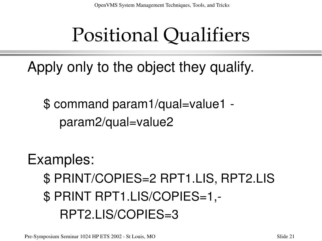 Positional Qualifiers